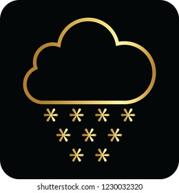 snow cloud golden icon for web and print