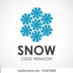 Snow cold of hexagon crystal abstract vector and logo design or template winter business icon of company identity symbol concept
