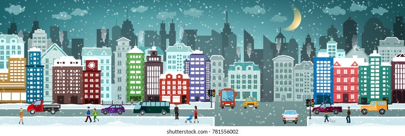 Snow covered city with houses, cars, people. Winter cityscape. Christmas and new year holidays.