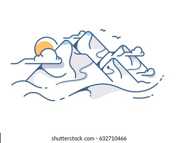 Snow covered view of mountains. High mountain sun and clouds. Vector illustration