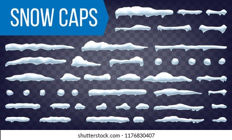 Snow Drift Vector. Snowballs, Snowdrift. New Year Winter Ice Frame Drift Element. Realistic Snow Caps. Isolated Illustration