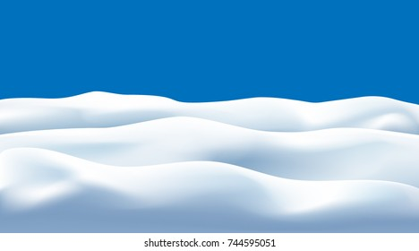 snow drifts isolated on blue background