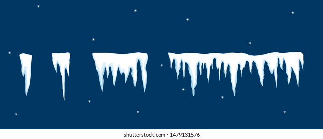Snow elements. Snowball and snowdrift, icicles and snowcap borders. Vector template in cartoon style.