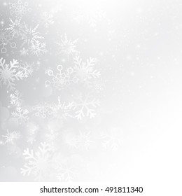 Snow fall with bokeh abstract grey background vector illustration eps10