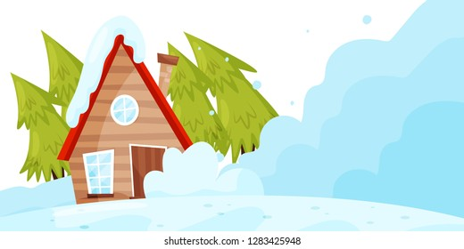 Snow falling down on living house. Avalanche disaster. Winter landscape. Natural catastrophe. Flat vector design