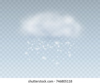 Snow falling effect isolated on transparent background. White snowflakes with cloud in sky. Vector christmas snowfall icon for your winter design