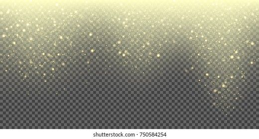 Snow falling vector background of golden sparkling snowfall and glittering snowflakes. Vector abstract glowing gold glitter particles pattern background for Christmas or New Year winter greeting card.
