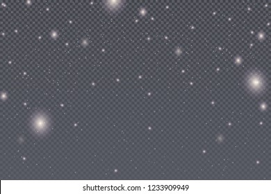 Snow, falling vector snowflakes isolated on transparent background. Christmas snowfall pattern with transparent overlay effect. Winter pattern with white flake.