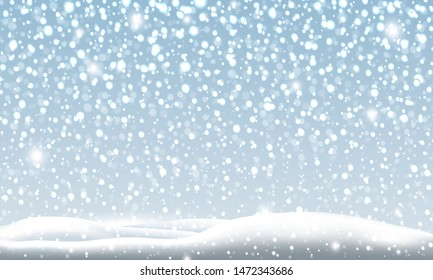 Snow falling in the winter Christmas background vector illustration