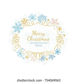 Snow flake frame on white background, Christmas design for invitation, greeting card. Vector illustration, merry xmas snowflake framework.