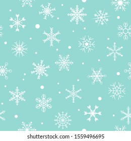 Snow flake seamless vector background, illustration. Christmas and happy new year season concept.