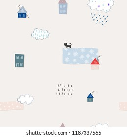 Snow flakes fall doodles simple seamless pattern. Winter Holidays vector graphic design element. Cute Hand written primitive small sign Kids drawing Children made naive art paper cutout house
