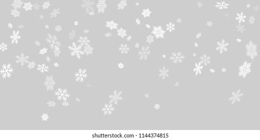 Snow flakes falling macro vector illustration, christmas snowflakes confetti falling scatter backdrop. Winter snow shapes decor. Airy flakes falling and flying winter cool vector background.