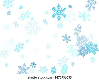 Snow flakes falling macro vector illustration, christmas snowflakes confetti falling scatter card. Winter snow shapes decor. Windy flakes falling and flying winter simple vector background.