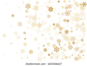 Snow flakes falling macro vector illustration, christmas snowflakes confetti falling scatter banner. Winter snow shapes decor. Windy flakes falling and flying winter cold weather vector.