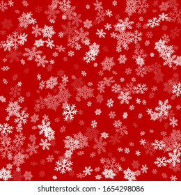 Snow flakes falling macro vector design, christmas snowflakes confetti falling scatter backdrop. Winter xmas snow background. Airy flakes falling and flying winter simple vector background.