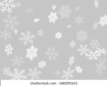Snow flakes falling macro vector illustration, christmas snowflakes confetti falling scatter card. Winter xmas snow background. Windy flakes falling and flying winter seasonal weather vector.