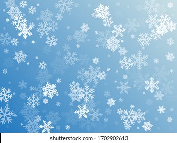 Snow flakes falling macro vector graphics, christmas snowflakes confetti falling scatter banner. Winter snow shapes decor. Windy flakes falling and flying winter seasonal weather vector.