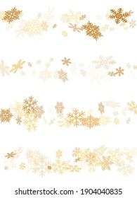 Snow flakes falling macro vector illustration, christmas snowflakes confetti falling chaotic scatter card. Winter xmas snow background. Windy flakes falling and flying winter cool vector background.