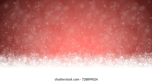 snow flakes on bottom side, abstract fall of snow and red colored background