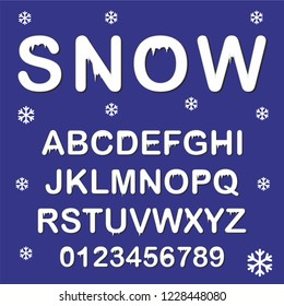 Snow font alphabet vector. Great for banners, greeting cards. Winter mood