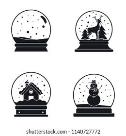 Snow globe ball christmas winter icons set. Simple illustration of 16 snow globe ball christmas winter vector icons for web