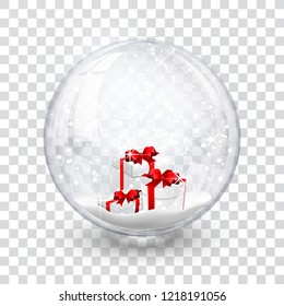 snow globe ball with gift boxes realistic new year chrismas object isolated on transperent background with shadow, vector illustration.
