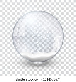 snow globe ball realistic new year chrismas object isolated on transperent background with shadow, vector illustration.