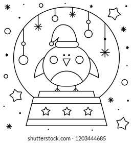 Snow globe with a bird. Coloring page. Black and white vector illustration.