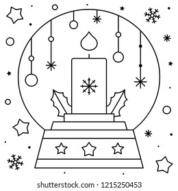 Snow globe with a candle. Coloring page. Black and white vector illustration.
