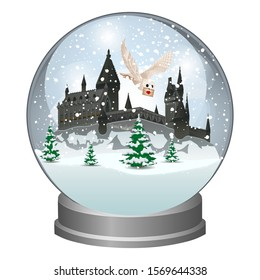Snow globe with Castle on the mountain. Winter fairy tale. School building of sorcery and magic. Vector illustration