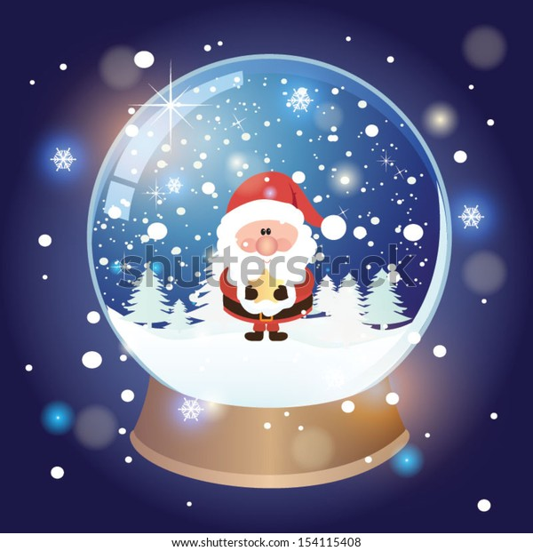 Snow globe with christmas character. Vector illustration