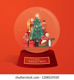 snow globe christmas greeting card template vector/illustration