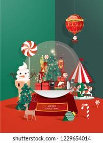 snow globe christmas greetings template vector/illustration