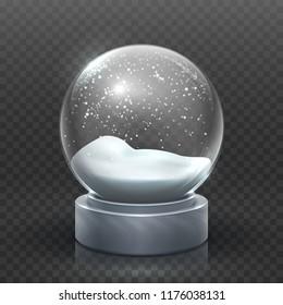 Snow globe. Christmas holiday snowglobe, empty glass xmas snowball. Snowy magic ball vector template. Sphere christmas ball, transparent toy bubble illustration