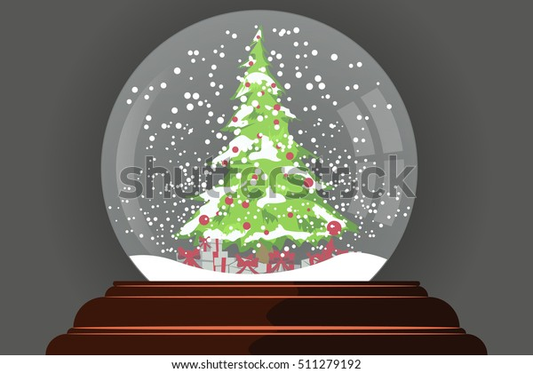Christmas In Evergreen Snow Globe.Snow Globe Christmas Tree Inside New Stock Vector Royalty