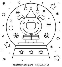 Snow globe with a dog. Coloring page. Black and white vector illustration.
