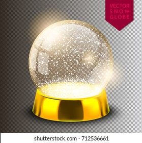 Snow globe empty template isolated on transparent background. Christmas magic ball. Realistic Xmas snowglobe vector illustration. Winter in glass ball, crystal dome icon snowflake and golden stand.