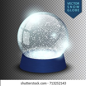 Snow globe empty template isolated on transparent background. Christmas magic ball. Realistic Xmas snowglobe vector illustration. Winter in glass ball, crystal dome icon snowflake and blue stand.