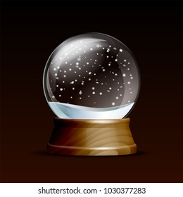 Snow globe with falling snowflakes. Realistic transparent glass sphere on wooden pedestal. Magic glass sphere on dark background. Vector illustration EPS 10