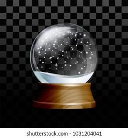 Snow globe with falling snowflakes. Realistic transparent glass sphere on wooden pedestal. Magic glass sphere on transparent background. Vector illustration EPS 10