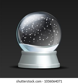 Snow globe with falling snowflakes. Realistic transparent glass sphere on white pedestal. Magic glass sphere on dark background. Vector illustration EPS 10