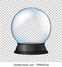 Snow Globe Isolated In Transparent Background With Gradient Mesh, Vector Illustration