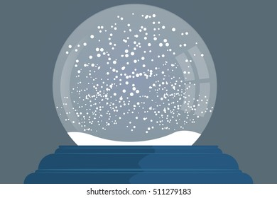 snow globe on blue stand new year and Christmas symbol.