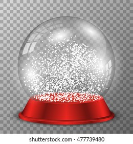 Snow globe on red stand. Vector crystal ball on transparent background.