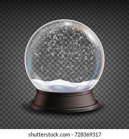 Snow Globe Realistic Vector. Realistic Snow Globe Toy. Winter Xmas Design Element. Isolated On Transparent Background Illustration
