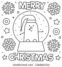 Snow globe with a snowman. Coloring page. Black and white vector illustration.