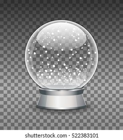 Snow Globe vector illustration. Empty snowglobe. Crystal 3d Sphere. Transparent glass ball. New Year gift.