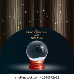 Snow Globe vector illustration on a festive black background, with Crystal 3d Sphere. Transparent glass ball. New Year gift card, invitation, banner