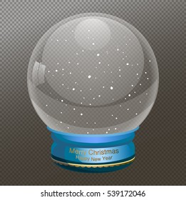 Snow Globe vector illustration, text  Merry Christmas, New year.  Empty snowglobe. Crystal 3d Sphere. Transparent glass ball. New Year gift, transparent background